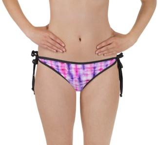 Retropink purple Hippy 60s tie dye two piece bathing suit swimsuit reversible bikini top bottoms
