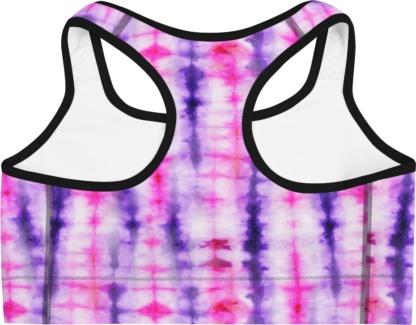 Retropink purple Hippy 60s tie dye sports bra exercise top