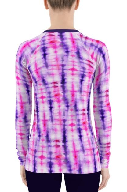 Retropink purple Hippy 60s tie dye women' rash guard long sleeve exercise top