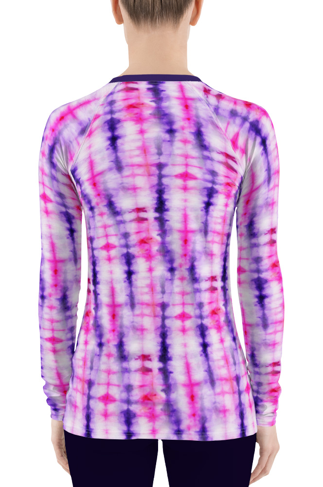 Retropink purple Hippy 60s tie dye women' rash guard long sleeve exercise top