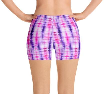 Retropink purple Hippy 60s tie dye women's legging compression shorts speedo