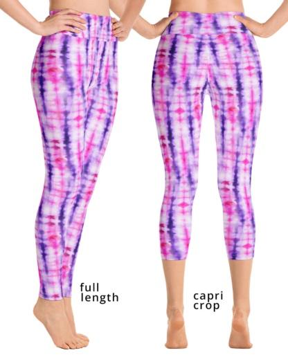 Retropink purple Hippy 60s tie dye women's yoga legging compression pants