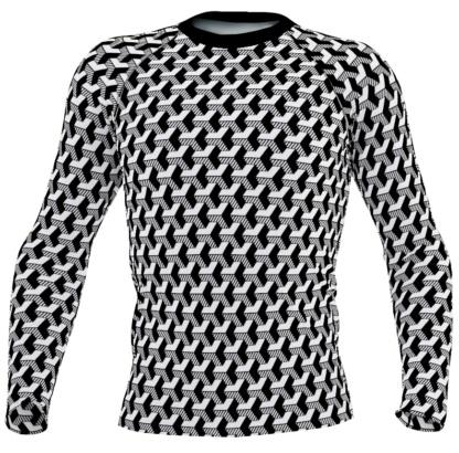 black & white Isometric Striped 3D Long Sleeve Men's Rash Guard