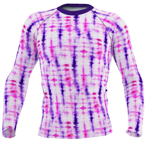Retropink purple Hippy 60s tie dye men's rash guard long sleeve exercise top