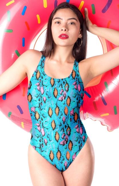 Blue snakeskin one piece bathing suit swimsuit