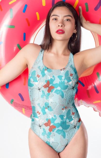 Blue butterfly one piece swimsuit bathing suit