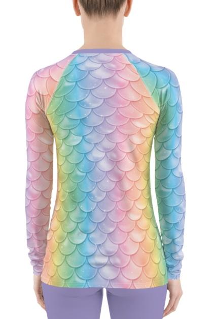 long sleeve rash guard exercise surf surfing top mermaid pastel