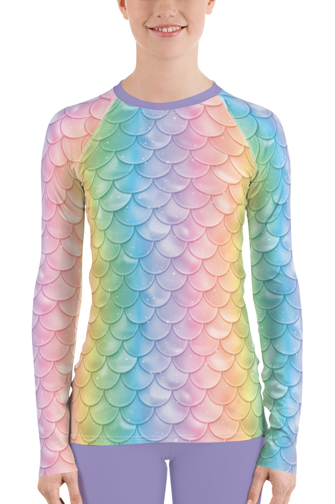 long sleeve rash guard exercise surf surfing top mermaid pastel