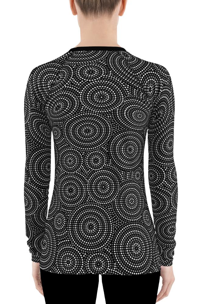 Aboriginal Concentric Circles Women's Long Sleeve Rash Guard