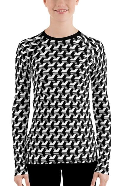 isometric striped 3D black & white women's rash guard