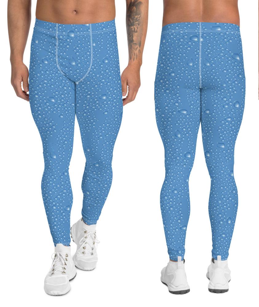 water drop wet look rain drops leggings red or blue men's boys compression pants