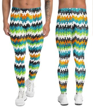 abstract pixel orange blue white men's leggings boys compression pants tights