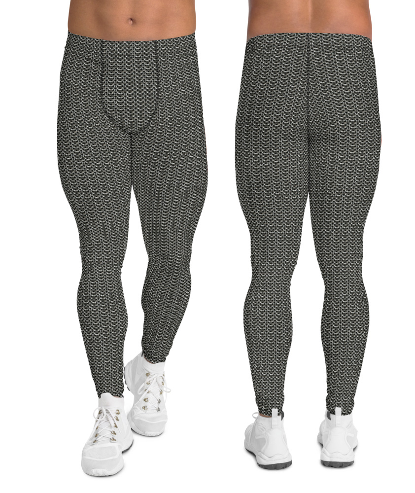 metallic metal chain mail chainmail leggings men's compression pants tights silver chrome