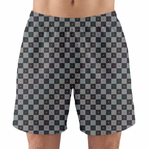 animate render uv 3d grid men's working running gym athletic shorts