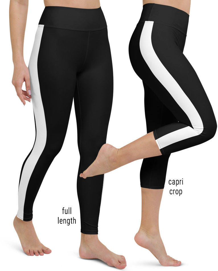 Black with white pinstripe side stripe striped yoga leggings