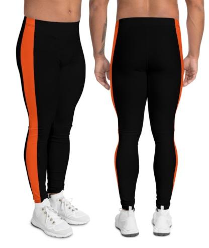 stripe stripes striped side men's leggings boys compression pants green black white orange