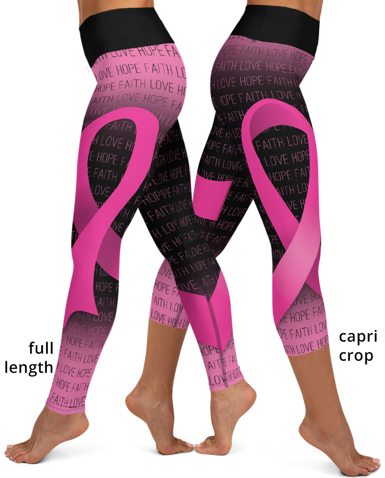 Breast cancer awareness pink ribbon yoga exercise leggings