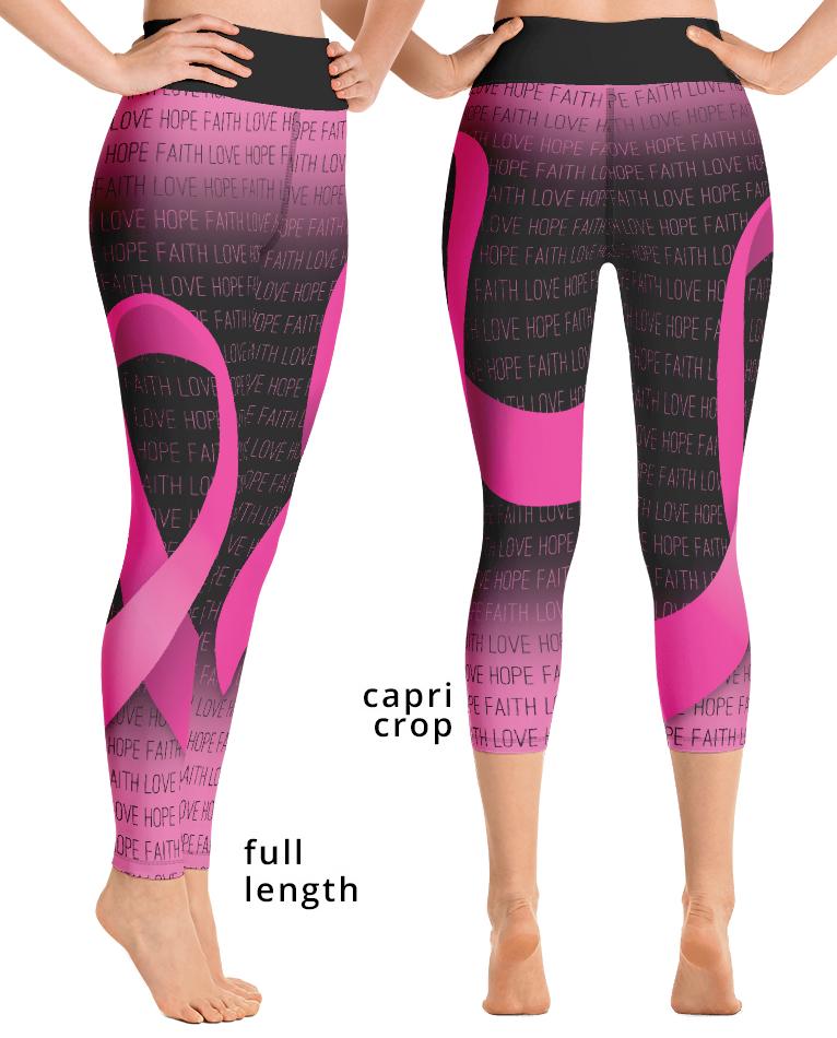Breast cancer awareness pink ribbon yoga exercise leggings