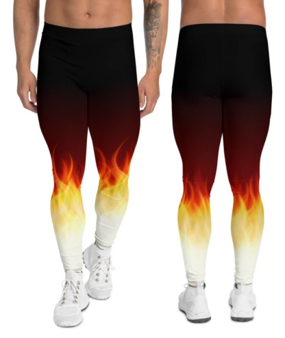 fire flame running leggings men mens boys compression pants