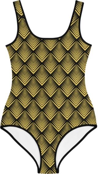 vintage design trendy trend gold art deco triangles kids bathing suit swimsuit for children