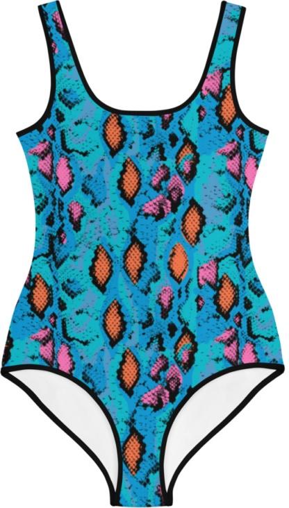 blue snakeskin snake skin kids bathing suit swimsuit for children