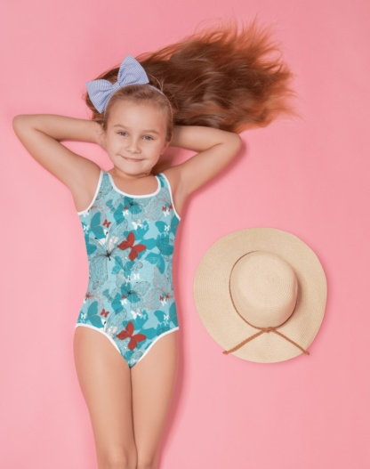 Blue buetterfly kids bathing suit swimsuit for children