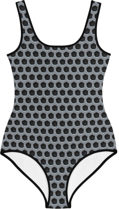 silver gray gothic metal grill kids bathing suit swimsuit for children