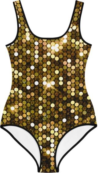 gold bling sparkles sparkly sparkle glitter kids bathing suit swimsuit for children