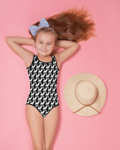 black and white isometric striped 3d kids bathing suit swimsuit for children