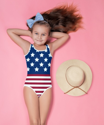 USA American Flag 4th July Stars & Stripes Red White Blue kids bathing suit swimsuit for children
