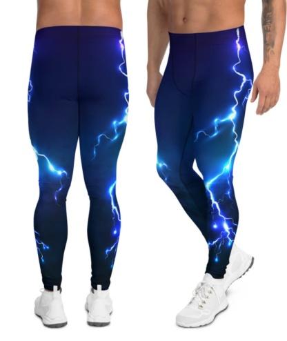 lightening bold thunderbolt men's boys leggings compression pants tights