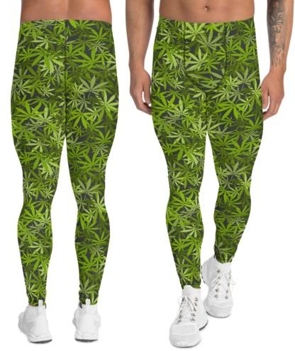 marijuana leggings men's boys cannabis, hemp, pot, weed, dope, ganja, splif leaf compression pants