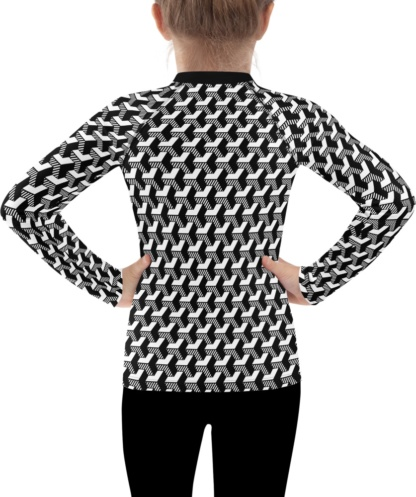 isometric striped 3D black & white kids childrens rash guard