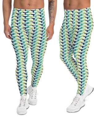 men's leggings 3d designer tube blue green