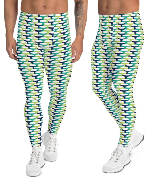 men's leggings 3d designer tube blue green