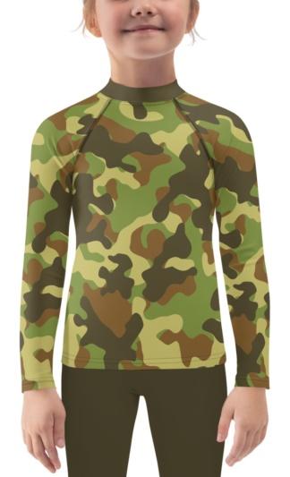 Camo Camouflage Rash Guard for Kids pink blue green