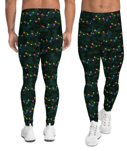 Green Christmas Tree Holiday Decorations Festive Men's Leggings exercise tights