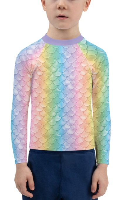 pastel mermaid costume rash guard for Children long sleeve shirt