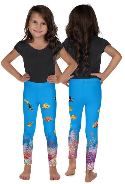 Ocean Leggings - Coral Reef Leggings - Fish Leggings kids childrens pants