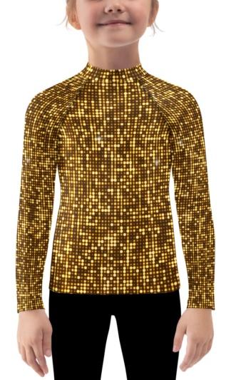 gold shimmery shimmer rash guard for children kids