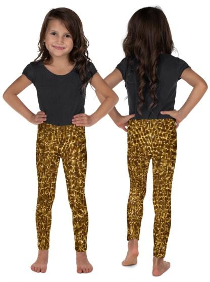 gold glitter shimmer shimmery kids child youth leggings