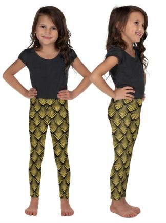 Gold art deco vintage leggings kids children