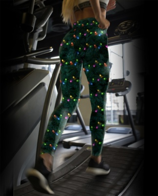 Green Christmas Tree Holiday Decorations Festive women's yoga leggings exercise tights