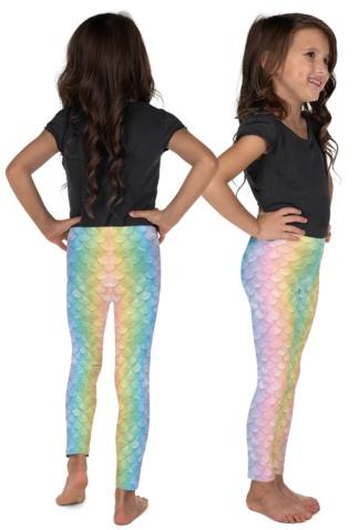mermaid scales fish pastel costume leggings for kids children