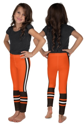 Children child kid kids teen sizes Ohio Cleveland Browns uniform leggings NFL Football pants orange