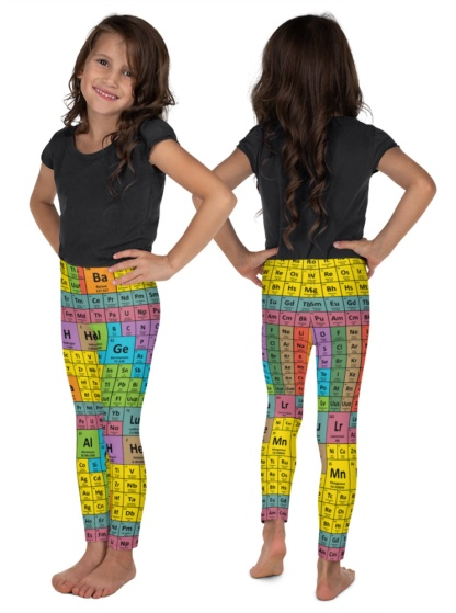 science Periodic Table Kids Leggings children pants math chemicals chemical