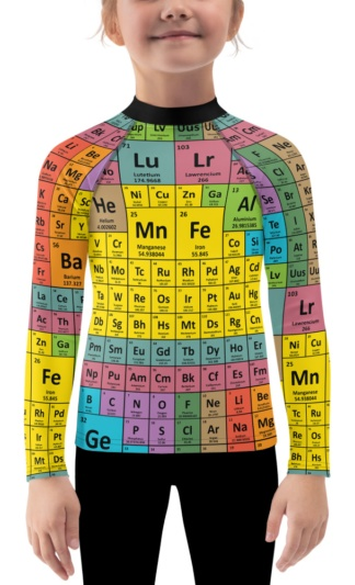 Periodic Table of Elements Long Sleeve Rash Guard Chemistry Chemical girls Surfing Surf Top Exercise Kids rash guard