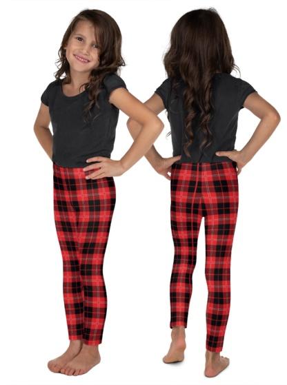 Scottish Tartan Plaid Leggings for Children red pants
