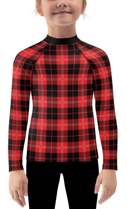 Scottish Tartan plaid rash guard for Children long sleeve shirt