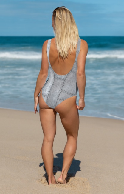 metal grill rivit rivits plate plates metallic one piece bathing suit swimsuit
